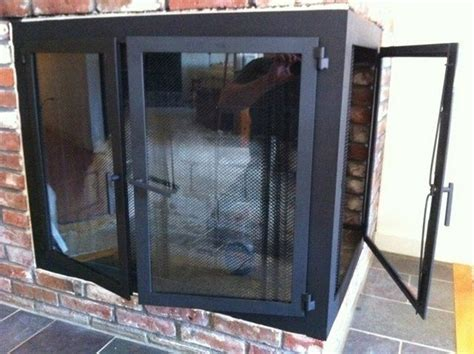 Custom Corner Fireplace Doors by Iron It Out   CustomMade.com