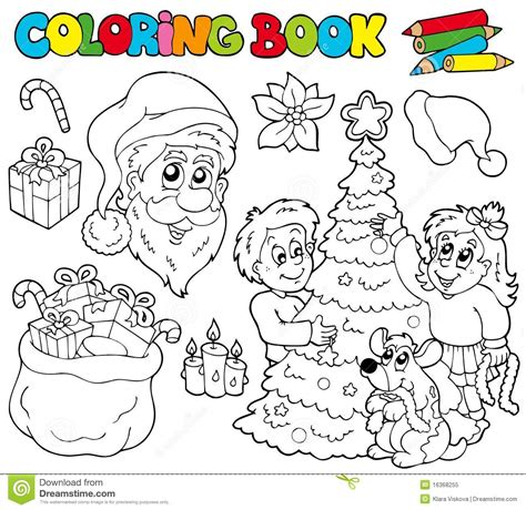 christmas themed drawing coloring book with christmas theme stock vector image