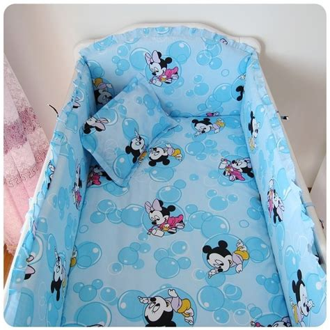 Mickey Mouse Cot Bumper Bedding Sets Promotion 6pcs Mickey Mouse Baby Cot Crib Bedding Set Kit Bumper Fitted Sheet Bumper Sheet