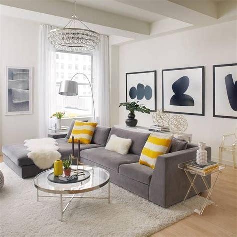 black white  yellow home decor living room