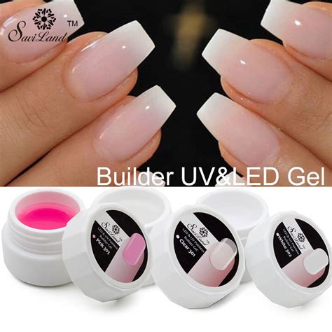 Uv Nails by Saviland 1pcs Pink White Clear Uv Builder Gel