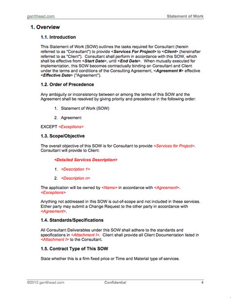 project management statement of work template projectmanagement statement of work template pmp