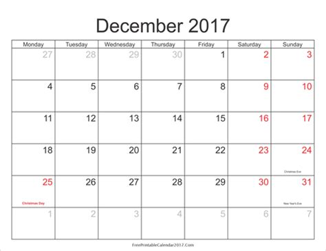 Calendar 2017 July To December December 2017 Calendar With Holidays Weekly Calendar