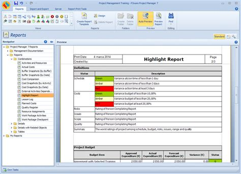 project highlight report template p2ware software for managing successful projects with