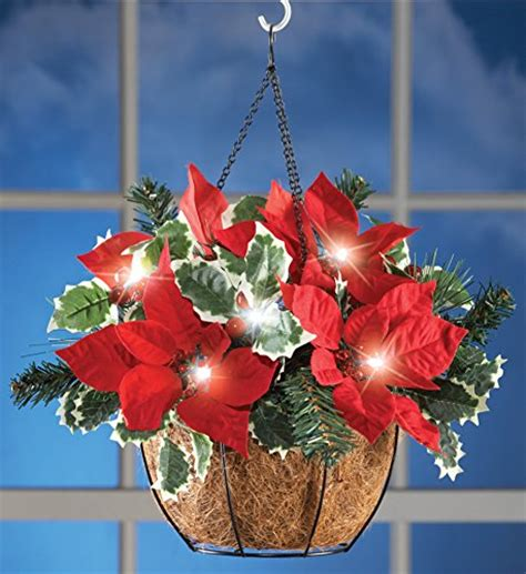 how to make a christmas yard poinsettia lighted best pre lit hanging baskets with led lights indoor or outdoor use