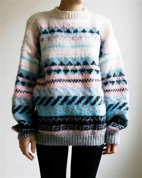 Sweater Tribal knitted ski sweater southwestern tribal print oversized