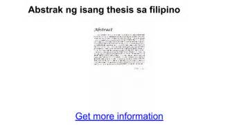 thesis abstract sa filipino abstrak ng isang thesis sa filipino google docs