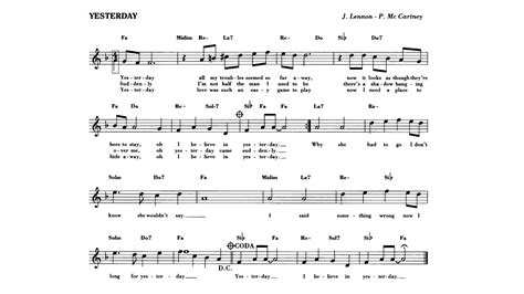 To Yesterday yesterday beatles sheet guitar chords lyrics