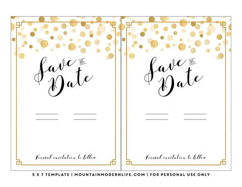 free save the date card templates gold theme modern diy save the date free printable