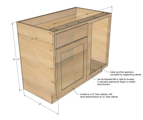 building kitchen base cabinets ana white build a 42 quot base blind corner cabinet