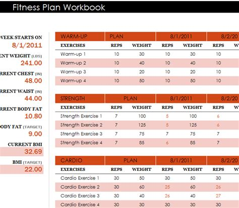 fitness plan workbook my excel templates