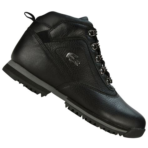 lacoste horben spj leather shoes boots black grey junior