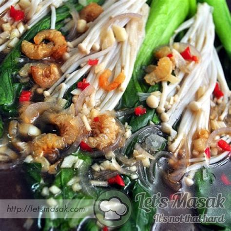 Rapot Merah Aa pak choy enoki with oyster sauce recipe letsmasak