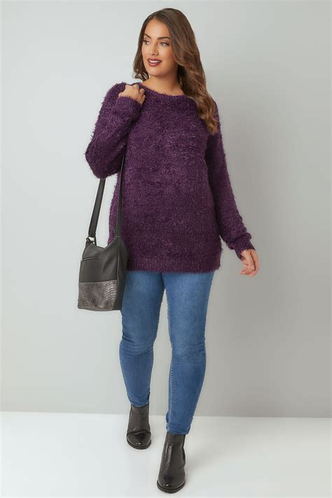 8041 Lower Lashes purple fluffy eyelash jumper plus size 16 to 36