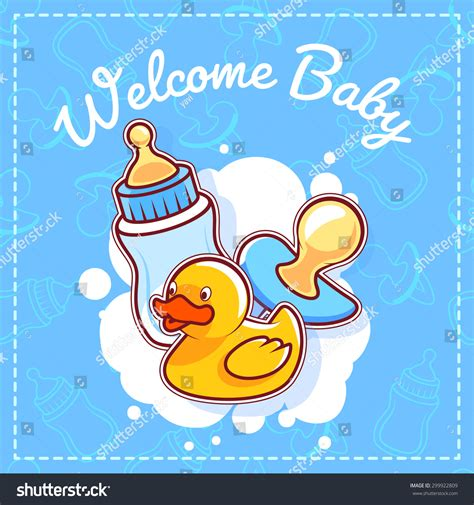 birthday card template duck baby shower greeting card welcome baby stock vector