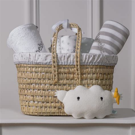 a gift that is soft personalised white and grey baby gift basket with cloud soft that s mine personalised