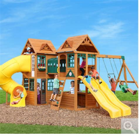 swing set tunnel 7 huge cedar 3 slide tunnel swings play set northern