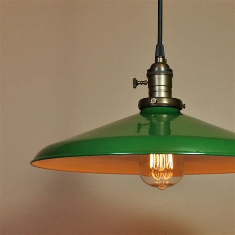 Barn Style Pendant Lights 14 Inch Pendant Light Forest Green Porcelain Enamel Finish Antique Style Cloth Wire Rustic