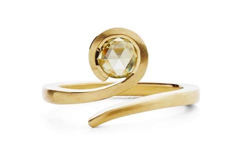 yellow gold and cut twist engagement ring