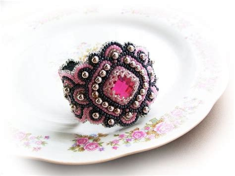 beadwork pink bracelets for bead embroidered antique bracelet