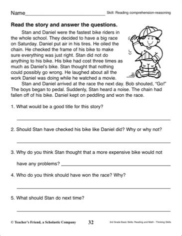 printable quiz on story elements short story with comprehension questions 3rd grade