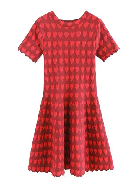 heart pattern dress red heart pattern scallop trim a line pleat dress choies