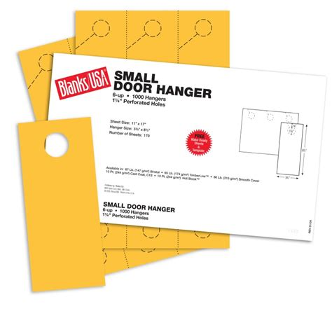 blanks usa templates sunfish yellow small door hangers 11 x 17 in 65 lb cover