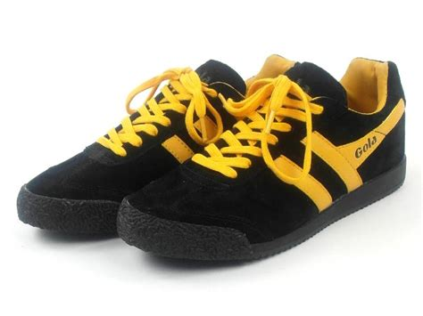 Gola Shoes Original original gola trainers shoes harrier black yellow leather
