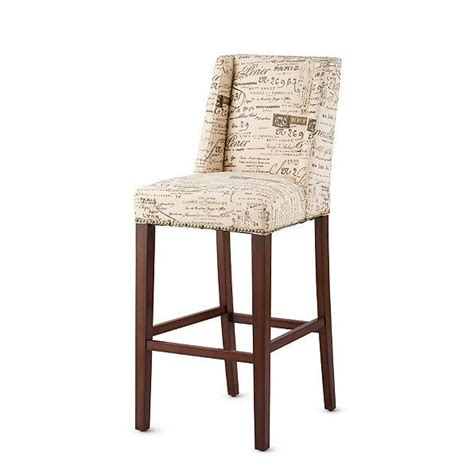 Script Counter Stools by Beige Brown Upholstered Script Bar Stools