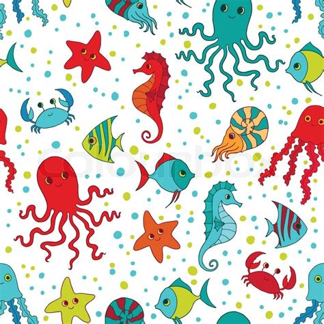 ocean pattern vector sea creatures vector seamless pattern stock vector