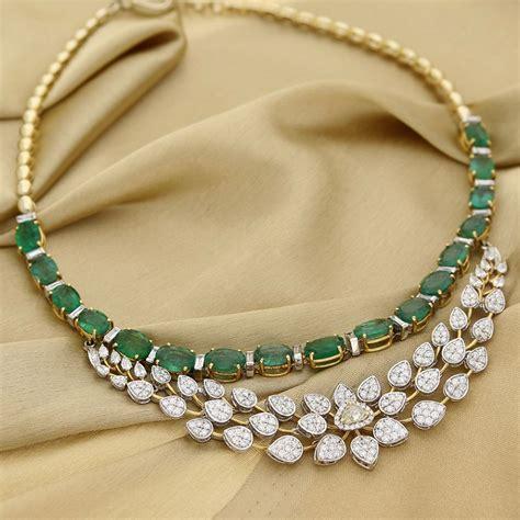 south hill design necklaces manubhai jeweller s diamond emerald necklace south india