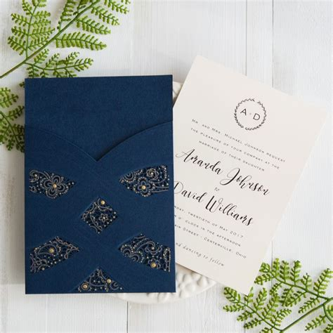 Wedding Invitations Navy Blue by Navy Blue Laser Cut Pocket Wedding Invites Swws027