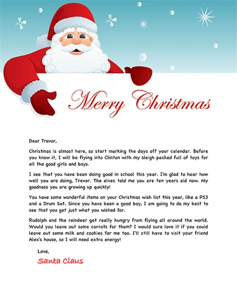 free printable personalised letter from santa template santa letter exle personalized letters from santa