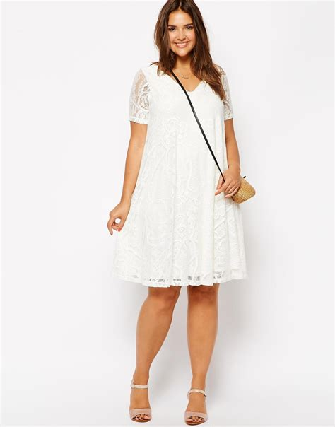 plus size white swing dress plus size sexy v neck midi dress lace dress swing dress