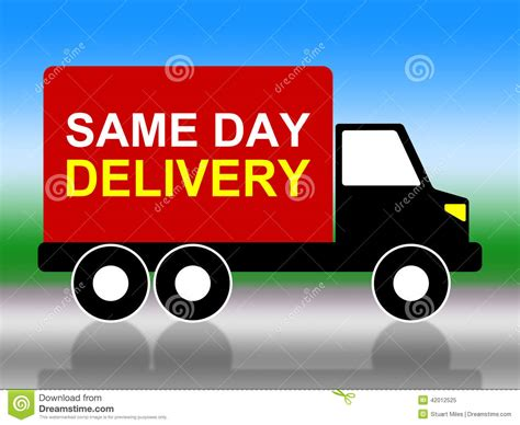 day delivery same day delivery indicates fast shipping and distributing