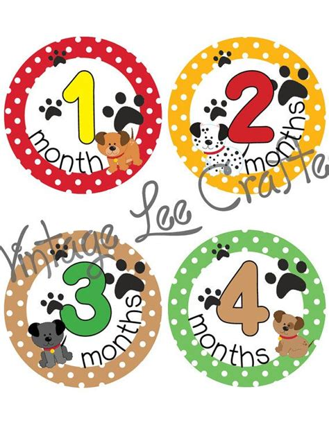 printable onesie stickers baby onesie milestone months printable stickers puppy