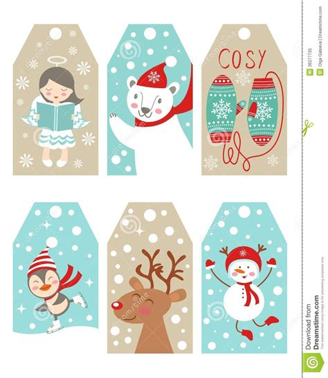 printable new year tags christmas and new year gift tags stock vector image