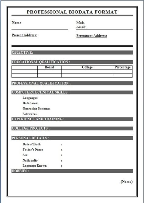 biodata format for application sle biodata form