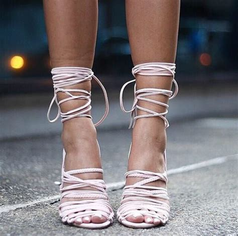 light pink tie up heels shoes white strappy heels strappy sandals