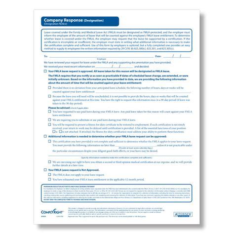 printable fmla poster fmla designation company response form