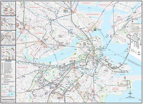 boston transit map boston map mbta map united states of america