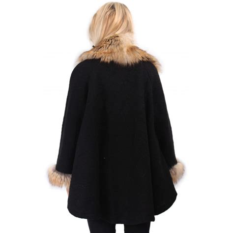 fur swing coat black swing coat with fur collar and cuffs