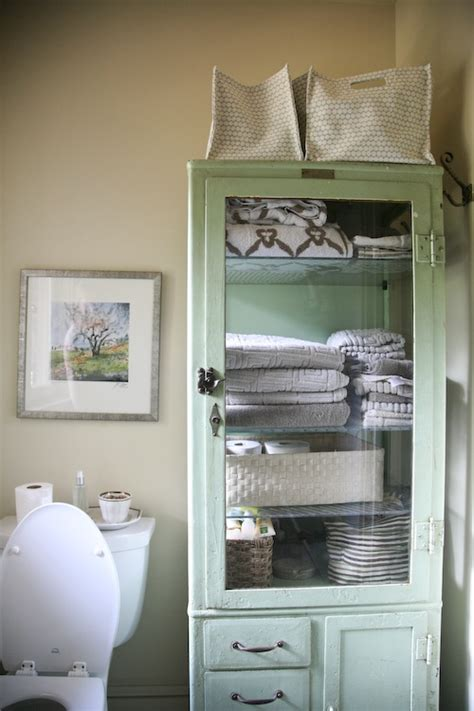 vintage cabinet as bathroom storage for the home