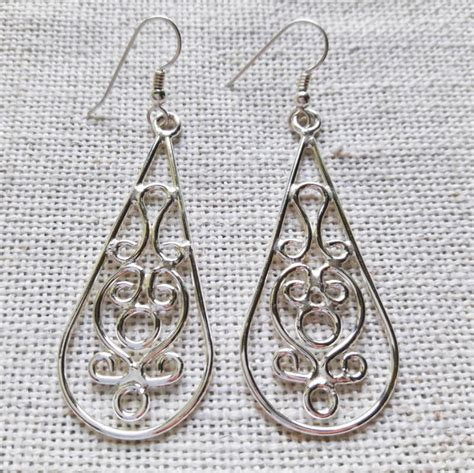 Silver Earrings Handmade - drop baroque handmade silver earrings bg silversmiths