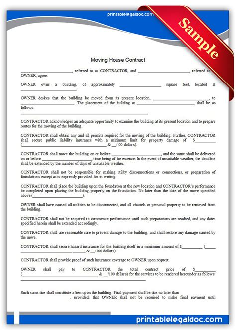 Free Printable Moving House Contract Form Generic Moving Agreement Template