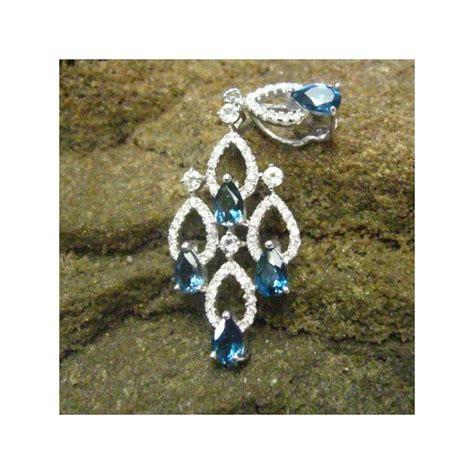 Batu Topaz Blue Liontin Perak 925 Lapis Emas Putih 14k 2 liontin silver 925 dengan permata blue topaz