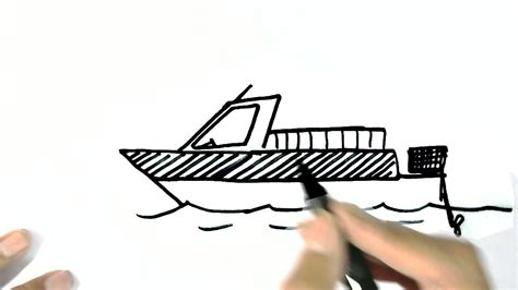 how to draw a motorboat in easy steps for children beginners - Motor Boat Easy