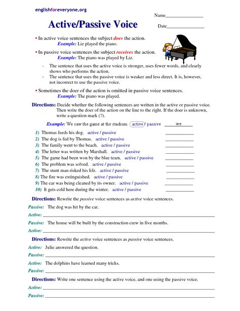 grammar active and passive voice exercises with