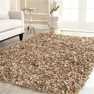 safavieh knotted beige leather shag area rug