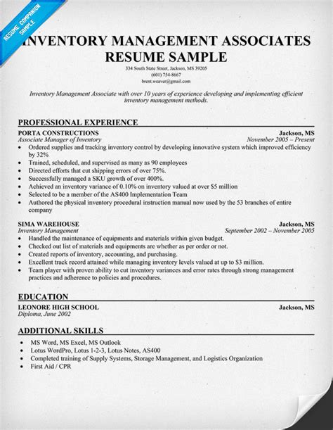 ii inventory management associates resume template and explanation images frompo
